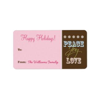 Peace-Joy-Love Holiday Gift Tag (pink) Custom Address Label