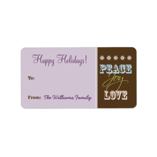 Peace-Joy-Love Holiday Gift Tag (purple) Personalized Address Labels