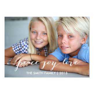 "Peace, Joy, Love Holiday Photo Card | Blue 5"" X 7"" Invitation Card"