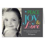 Peace Joy & Love Holiday Photo Card Greeting Cards