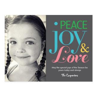 Peace Joy & Love Holiday Photo Card Postcard Postcards