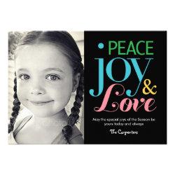Peace, Joy, & Love Holiday Photo Cards Custom Invite