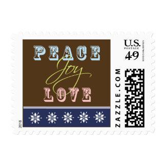 Peace-Joy-Love Holiday Postage (navy)