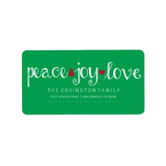 Peace Joy Love Holiday Script Label