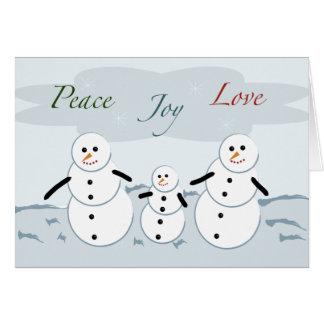 Peace Joy Love Holiday Snowmen Card