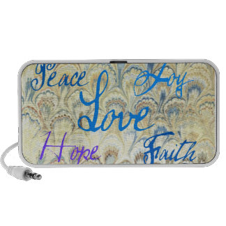 PEACE, JOY, LOVE, HOPE AND FAITH WALLPAPER PRINT MINI SPEAKERS
