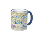 PEACE, JOY, LOVE, HOPE AND FAITH WALLPAPER PRINT COFFEE MUGS