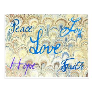 PEACE, JOY, LOVE, HOPE AND FAITH WALLPAPER PRINT POSTCARD