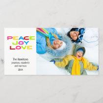 Peace Joy Love Modern Trendy Colorful Photo Holiday Card