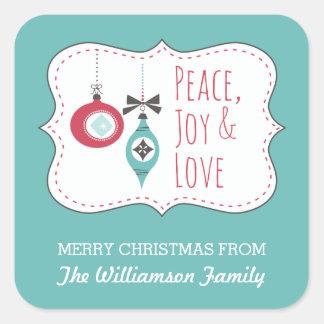 Peace Joy Love Personalized Holiday Sticker