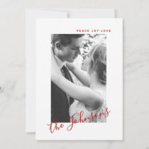 Peace Joy Love Photo Name Classic Red & White Holiday Card