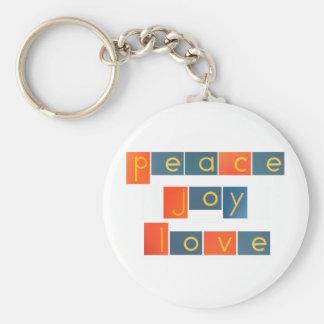 PEACE JOY LOVE Sandpaper Letters Keychain