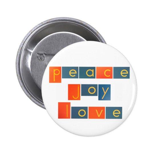 PEACE JOY LOVE Sandpaper Letters Pinback Button