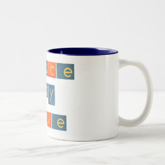 PEACE JOY LOVE Sandpaper Letters Two-Tone Coffee Mug