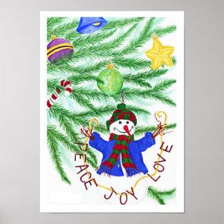 Peace, Joy & Love Snowman - Christmas Poster/Print Poster