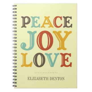 PEACE JOY LOVE typography holiday personal journal