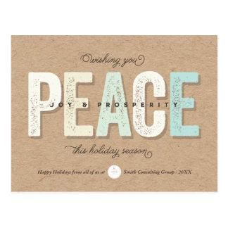 Peace & Joy Prosperity Business Holiday Postcard