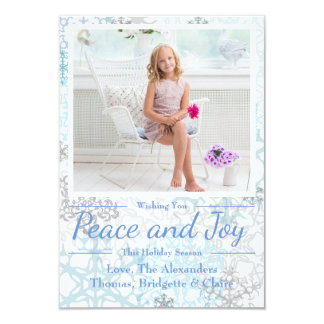 Peace & Joy Snowflakes 1 Photo - 3x5Christmas Card