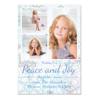 Peace & Joy Snowflakes 3 Photos -3x5Christmas Card
