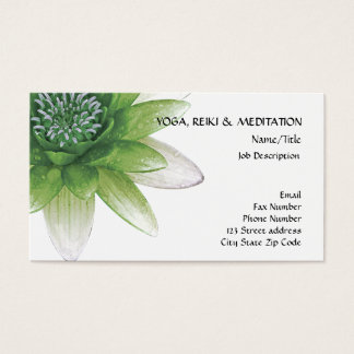 Peace l Beautiful Green Lotus Flower/Water Lily Business Card