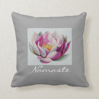 Peace l Beautiful Pink Lotus Flower/Water Lily Throw Pillow