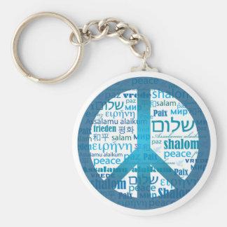 Peace Language Basic Round Button Keychain