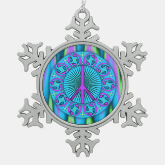 Peace ~ Leaf Snowflake Pewter Christmas Ornament