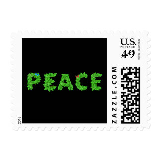 Peace Leaves Text Stamp