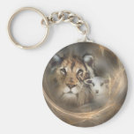 """Peace """"lion lamb"""" religious christion gifts Jesus Basic Round Button Keychain"""