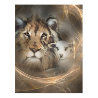"Peace ""lion lamb"" religious christion gifts Jesus Postcard"