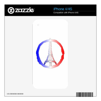 Peace Logo Of Eiffel Tower iPhone 4 Skin
