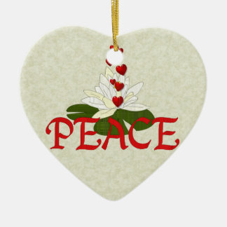 Peace Lotus Double-Sided Heart Ceramic Christmas Ornament