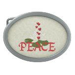 Peace Lotus Oval Belt Buckle
