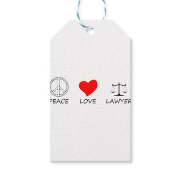 Lawyer Themed peace love40 gift tags