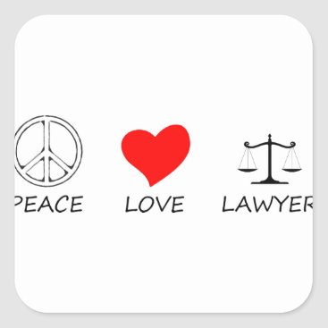 Lawyer Themed peace love40 square sticker