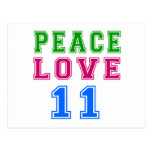 Peace Love 11 Birthday Designs Post Card