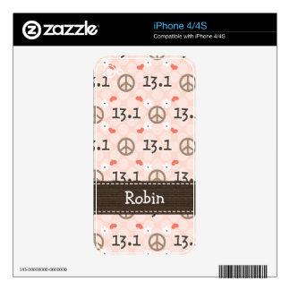 Peace Love 13.1 Half Marathon iPhone 4 / 4s Skin