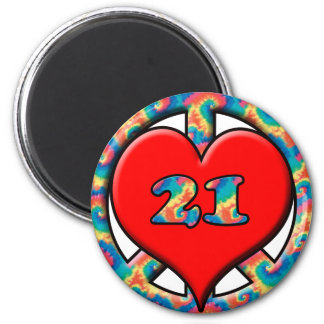 Peace Love 21 2 Inch Round Magnet