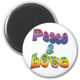 Peace & Love 2 Inch Round Magnet