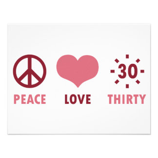 Peace Love 30th Birthday Gifts Announcements