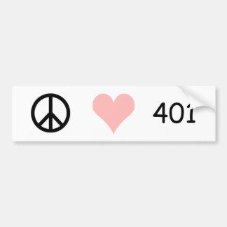 peace, love, 401 car bumper sticker