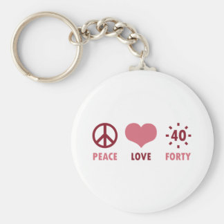 Peace Love 40th Birthday Gifts Keychain