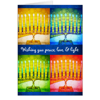 """Peace love"" 4 menorahs photo custom name Hanukkah Card"