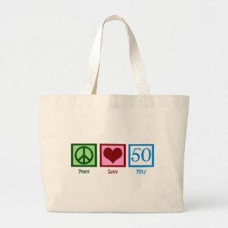 Peace Love 50 Large Tote Bag