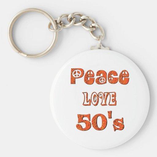 Peace Love 50's Basic Round Button Keychain