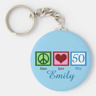 Peace Love 50th Birthday Custom Keychain
