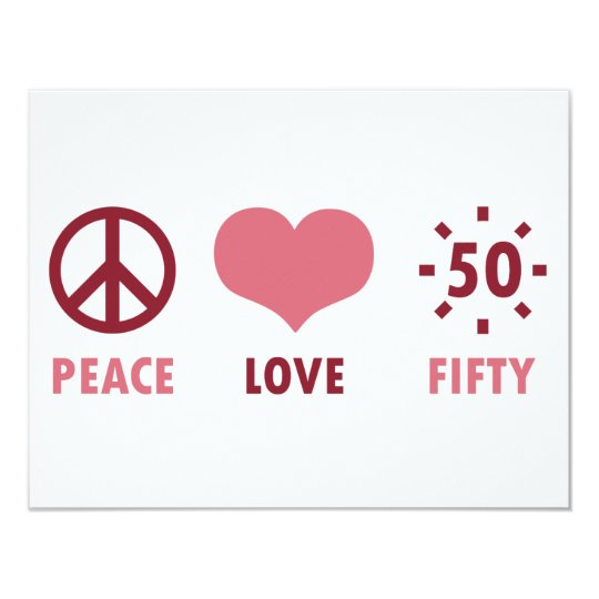 Peace Love 50th Birthday Gifts Card
