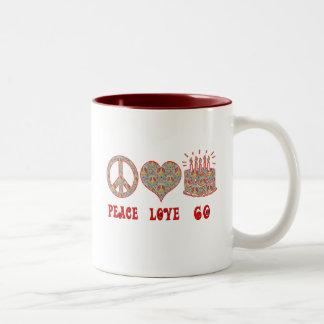 Peace Love 60 Two-Tone Coffee Mug