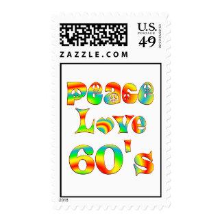 Peace Love 60's Postage Stamp