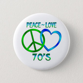 Peace - Love 70's Pinback Button